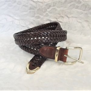 Men's Brown Genuine Leather Braided Belt Dockers